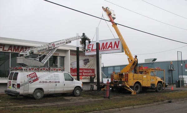 Installation of Flaman Edmonton pylon sign