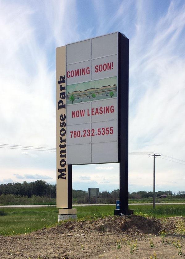 Pylon sign for Montrose Park in Edmonton