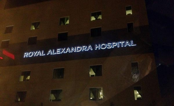 Halo lit letter sign - Edmonton Royal Alexandra Hospital