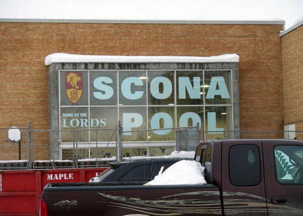 Large window decals at Scona Pool