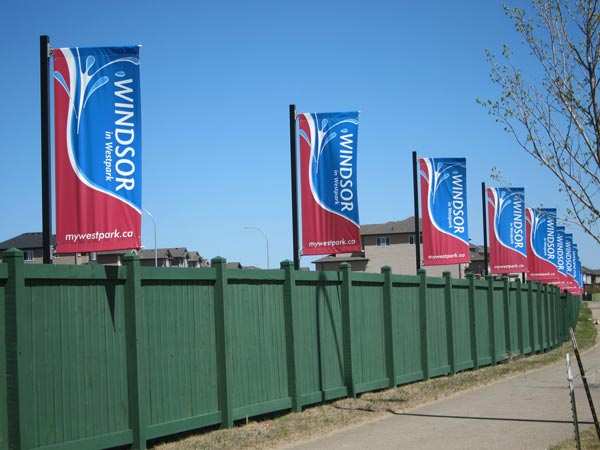 Flag row at new Fort Saskatchewan development