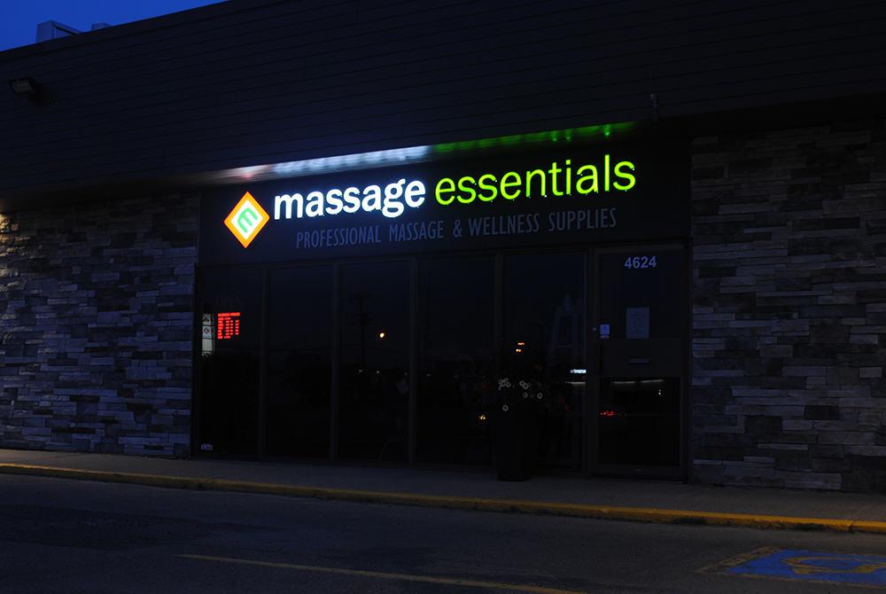 Massage Essentials Night Illuminated Channel Letters