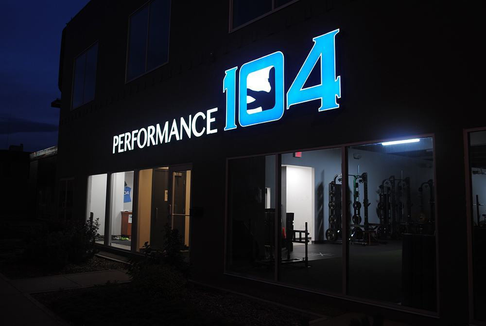 Night Illuminuated channel letters at Performance 104 in Edmonton