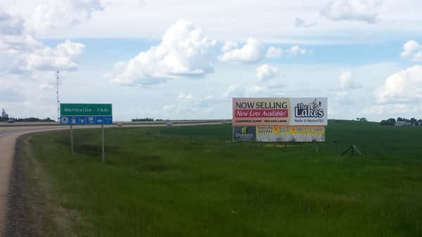 Highway billboard sign outside Morinville