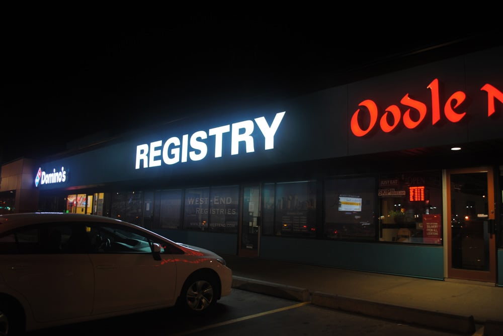 Night view of channel letters at West-End Registries