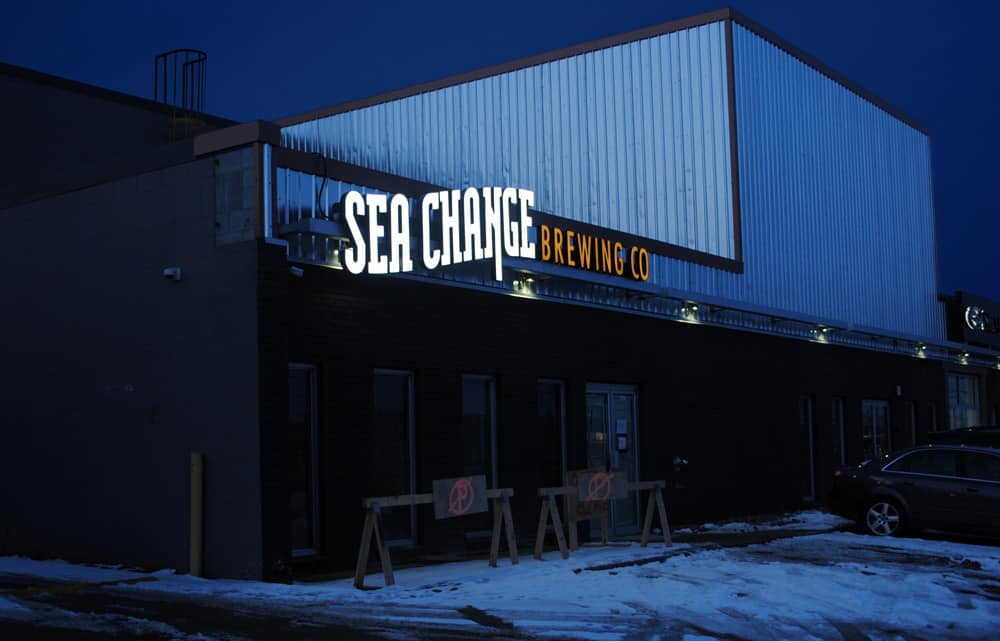 Sea Change Illuminated Signage Night View
