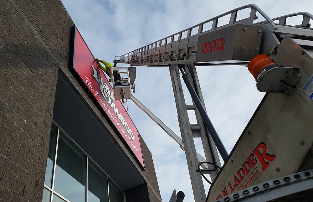 Signage Installation with Boom Truck