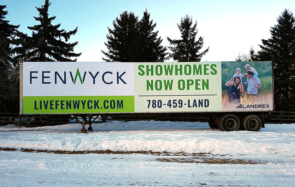 Banner Signage on Side of Trailer - Highway 16A, Edmonton