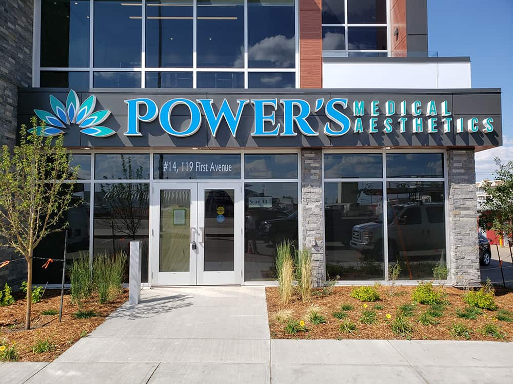 Powers Medical Custom Sign Cabinet and Lettering