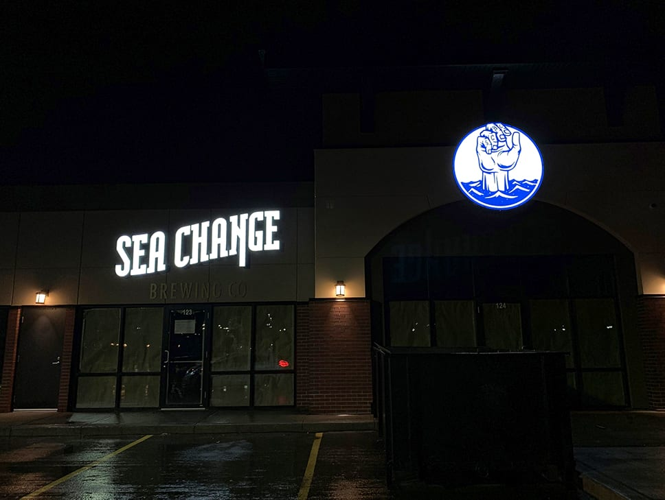 Night view of channel letters - Sea Change Edmonton