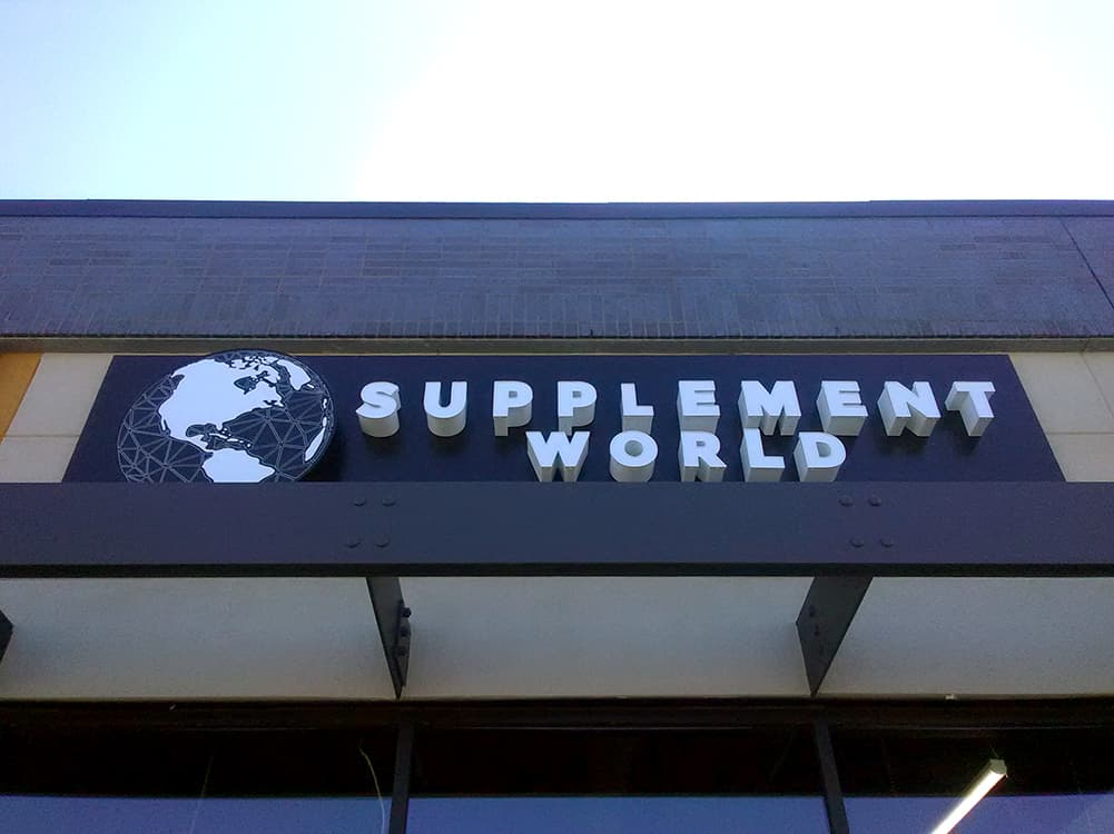 Day view of channel letters at Supplement World location in Edmonton
