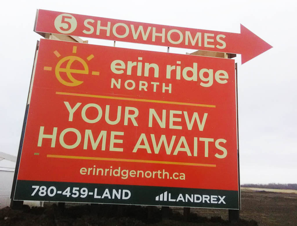 Erin Ridge Showhome Billboard Signs Edmonton